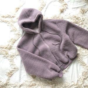 Dusty Purple Cropped Teddy Fleece Jacket 💕💕